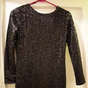 Black long sleeve sequin body con dress